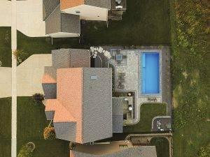 Overhead View of Paver Patio Around Pool